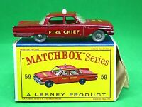 Matchbox Lesney No.59b Ford Fairlane Fire Chief's Car (RARE GPW DECALS COMPLETE)