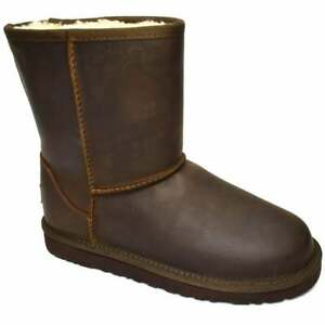 UGG CLASSIC PULL ON LEATHER FUR LINED GIRLS LADIES SOFT COMFORTABLE BOOT
