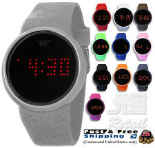 Fashion Round Touch Screen Digital Watch Techno Pave 7287 LED Silicone Band NEW