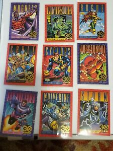 1993 Marvel X-Men Series 2 Complete 30 Years Gold Stamp 9 CARD Set