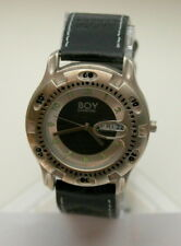 Rare Men's Boy London Fish Eye Day / Date Black Dial Watch New NOS 1990s