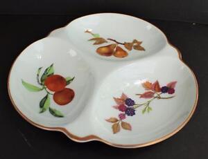 """Vintage ROYAL WORCESTER Fine Porcelain EVESHAM 9 1/4"""" 3-Parts Relish Tray"""