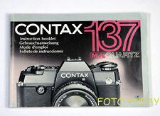 Contax 137ma QUARTZ manuale di istruzioni originale G/F/E/S 00022