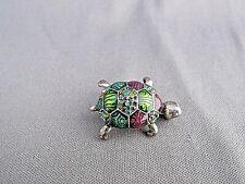 Chico'S Silver Tone Purple Aqua Green Enamel Figural Turtle Tortoise Pin Brooch