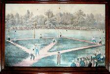 The American National Game of Baseball Currier & Ives Framed Print Vintage