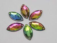 100 Rainbow AB Flatback Acrylic Faceted Horse Eye Sewing Rhinestone Beads 9X18mm