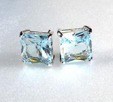 11mm BIG SQUARE Coppia Uomini Orecchini Placcato in Oro Bianco Diamante Aqua simulata