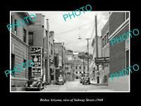 OLD POSTCARD SIZE PHOTO BISBEE ARIZONA VIEW OF SUBWAY STREET c1940