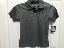 NWT Boys Under Armour Gray/Black Golf Shirt 6 Heat Gear NEW