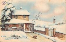 Cartolina - Postcard - Illustrata - Buon Natale - villa - cane - neve - 1951