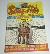 Rare Original VTG 1967 Mickey Monkees Song Hits Magazine (A008)