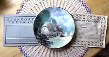 Thomas Kinkade Stonegate Cottage Plate 8th Issue In Garden Cottages Coa Mint