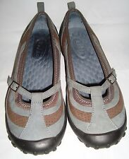 Privo By Clarks Blue Brown Nubuck Mary Janes Slip On Comfort Shoes 6 Ballet Flat