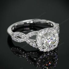 10K White Gold 925 Silver Clear Diamond Infinity Engagement Ring For Women's