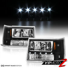 [SO COOL] 1993-1998 Jeep Grand Cherokee ZJ Black LED DRL System Headlights L+R