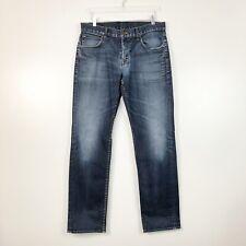 Hudson Mens Jeans Byron 5 Pocket Straight Fit Dark Wash Distressed Size 36 x 33