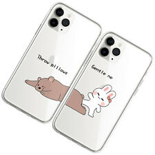 Couple Cartoon Graphic Clear Phone Case For iphone 11 12 Pro Max XR 6 7 8 Plus