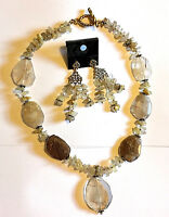 "Tan GP Rutilated Quartz 18"" Necklace & Chandelier Earring set - Healing handmade"