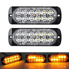 2X 12LED Amber Recovery Flash SUV Car Emergency Hazard Warning Strobe Light Bar