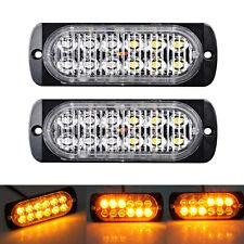 2X Amber 12LED Car Truck Emergency Beacon Warning Hazard Flash Strobe Light