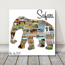 Elephant Photo Collage Canvas Print. Safari or holiday picture idea gift