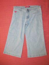 Apple Bottoms light wash Wide Leg Culotte cropped jeans Women's 12 W 34 L 30