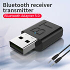 Bluetooth 5.0 USB Wireless Transmitter Receiver 2in1 Audio Dongle 3.5mm Aux Car