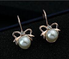 LAZO PENDIENTES DE PERLAS Pendientes Oro Chapado perla nácar blanco