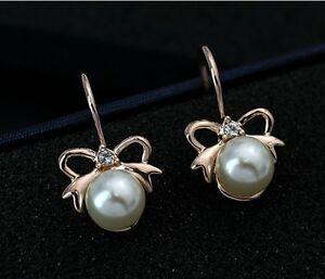 Schleife Perlenohrringe Ohrringe Ohrhänger Gold plattiert Perle neu