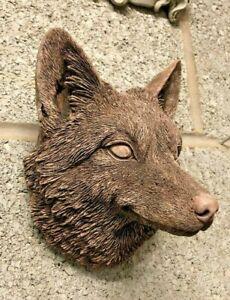 Fox Head wall hanging plaque Garden ornament concrete statue sculpture,red fox A