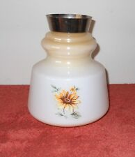 SUPERB VINTAGE 1980's MILK GLASS DAISY FLORAL FANCY CEILING LIGHT FITTING SHADE