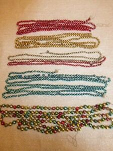 """Lot of 5 Vintage Christmas Glass Bead Garlands Multicolor 393"""" Single Bead to .5"""