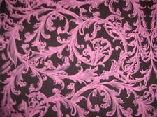 Pink Decorative Scrolls Brown Cotton Quilt Fabric BTY