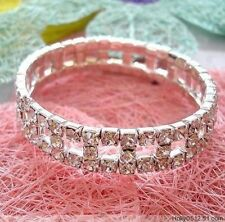 Rows Rhinestone Bangles Elastic Bracelets Women Dress Party Jewelry Gift Silver