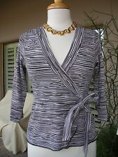 SEXY-!  $82 BEBE Black Pink Striped Belted Bow Stretchy Shirt Blouse Top   L