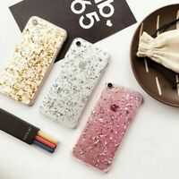 Gold Foil Glitter Phone Case Luxury Transparent Cover for iPhone 11 12 XR XS 7 8