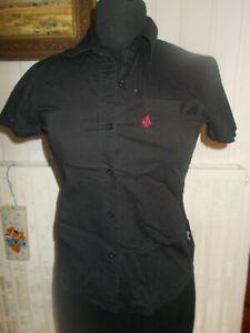 Chemisier coton noir stretch brodé rose VOLCOM XS 34/36 manches courtes