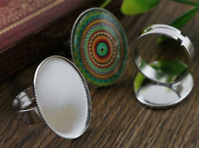 10pcs Rhodium Plated Oval Adjustable Ring Blank/Bases | Fit 18x25mm Cabochons