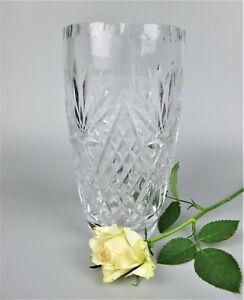 "Top quality & heavy vintage cut crystal glass FLOWER VASE. 8 1/8"""