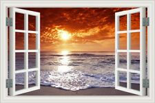 3D Fake Window View Sunset Ocean Beach Vinyl Wall Sticker Mural Kids Room Decal