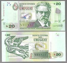 URUGUAY 20 PESOS 2018 (2020) SERIES H P-NEW UNC BANKNOTE