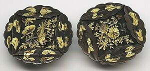 Antique Signed Japanese Shakudo Peacock & Flowers Cufflinks - 19th Century
