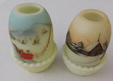 Fenton Glass Hand Painted Candle Fairy Lamps Winter Scene- Preowned