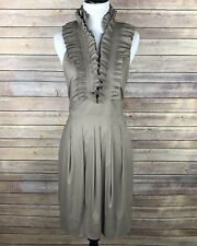 BCBG Max Azria Cocktail Dress Size 4 Taupe Tan Ruffle Neck Halter Pleated Chic