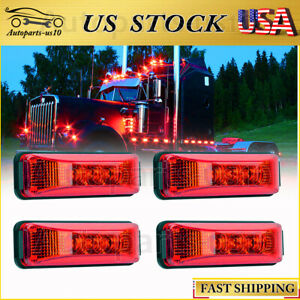 """4x Red 3.9"""" LED Clearence Light for Truck Trailer Lorry Universal Marker Light"""