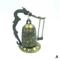Bronze Mönch Schloss Drachenuhr Buddhistische Kunst Statue dekorativ Uhr L7G0