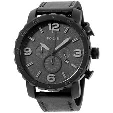 Fossil Nate Black Dial Leather Strap Men's Watch JR1354