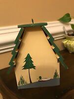 Decorative  HAND PAINTED Wooden BIRD HOUSE  Swimming Duck Collectible