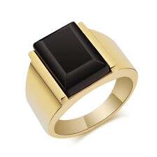 Black Large Agate Rings Gold Silver Band Men's Stainless Steel Jewelry Size 7-12