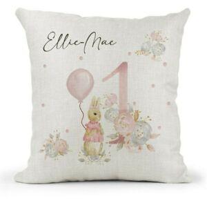 Personalised Girls 1st Birthday Gift Peter Rabbit Flopsy Cushion Daughter Niece